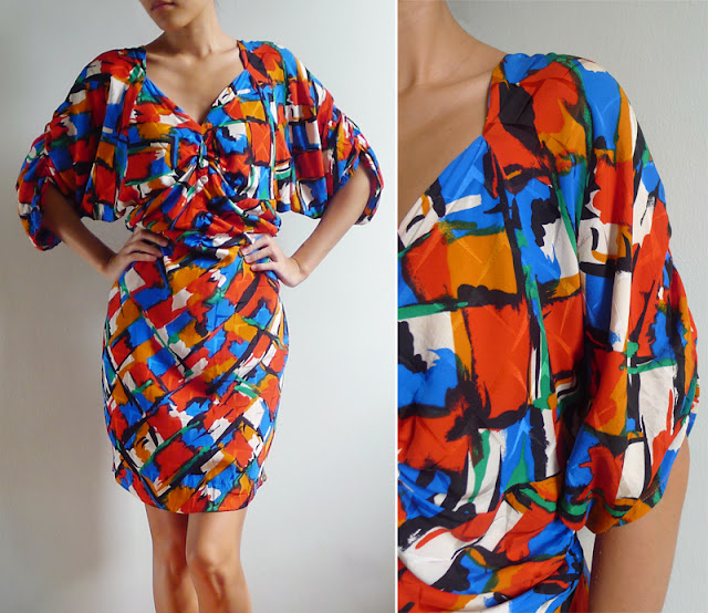 vintage 80's ruched batwing dress