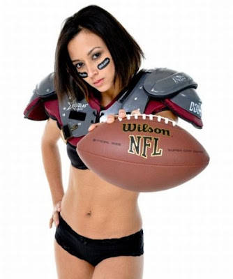 Sexy chick in football outfit