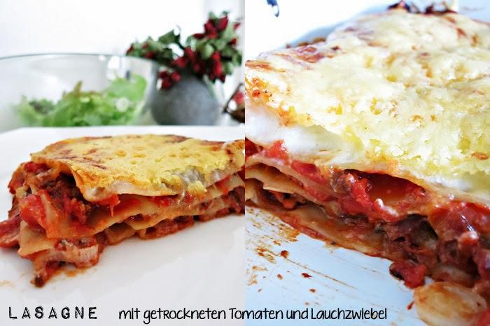 Lasagne mit getrockneten Tomaten und Lauchzwiebel