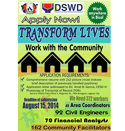 Now hiring at DSWD Bicol: 372 new field workers