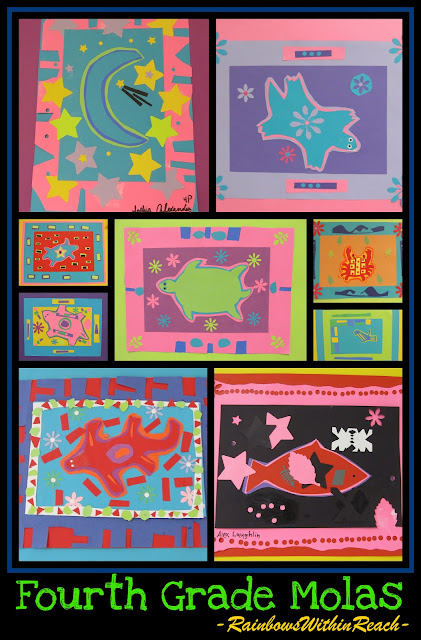 photo of: Molas Paper Artwork by Fourth Graders via RainbowsWithinReach