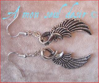 Boucles d'oreilles elfique angélique ange ailes plumes angel elven earrings
