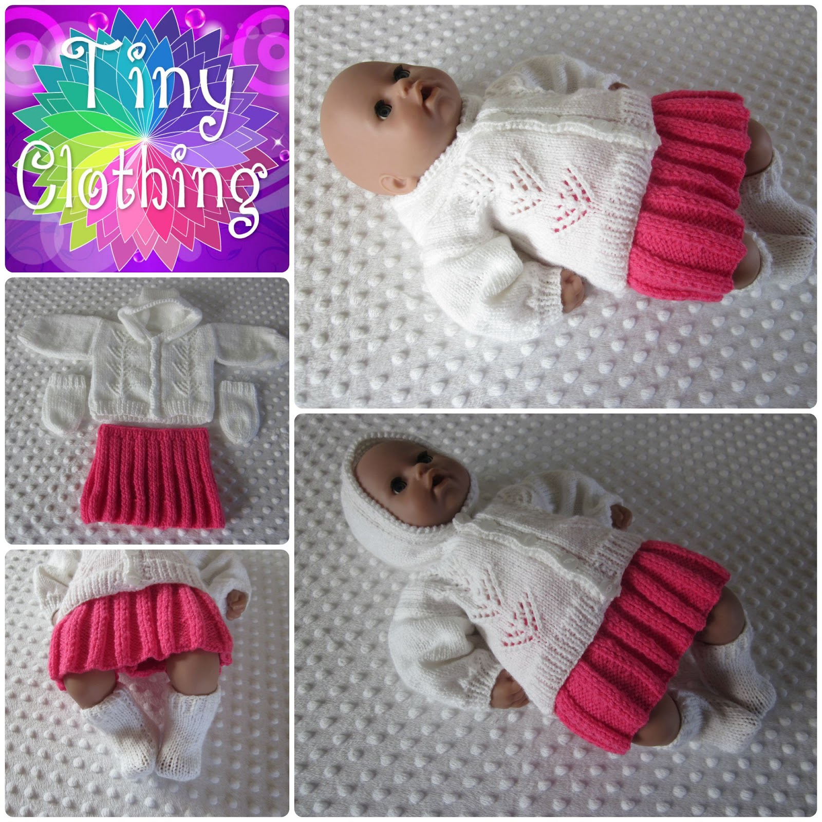 Hand Knitted Dolls Clothes: Lacy Hoodie and Skirt Pattern
