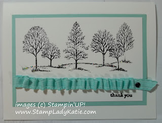 Card made with ruched ribbon and Lovely as a Tree Stamp Set.