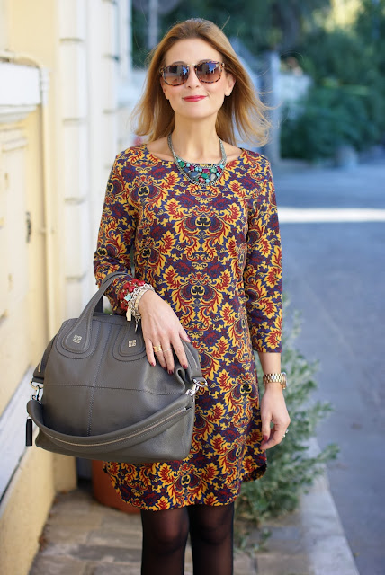 baroque print dress, firmoo sunglasses, Givenchy Nightingale bag, Fashion and Cookies, fashion blogger