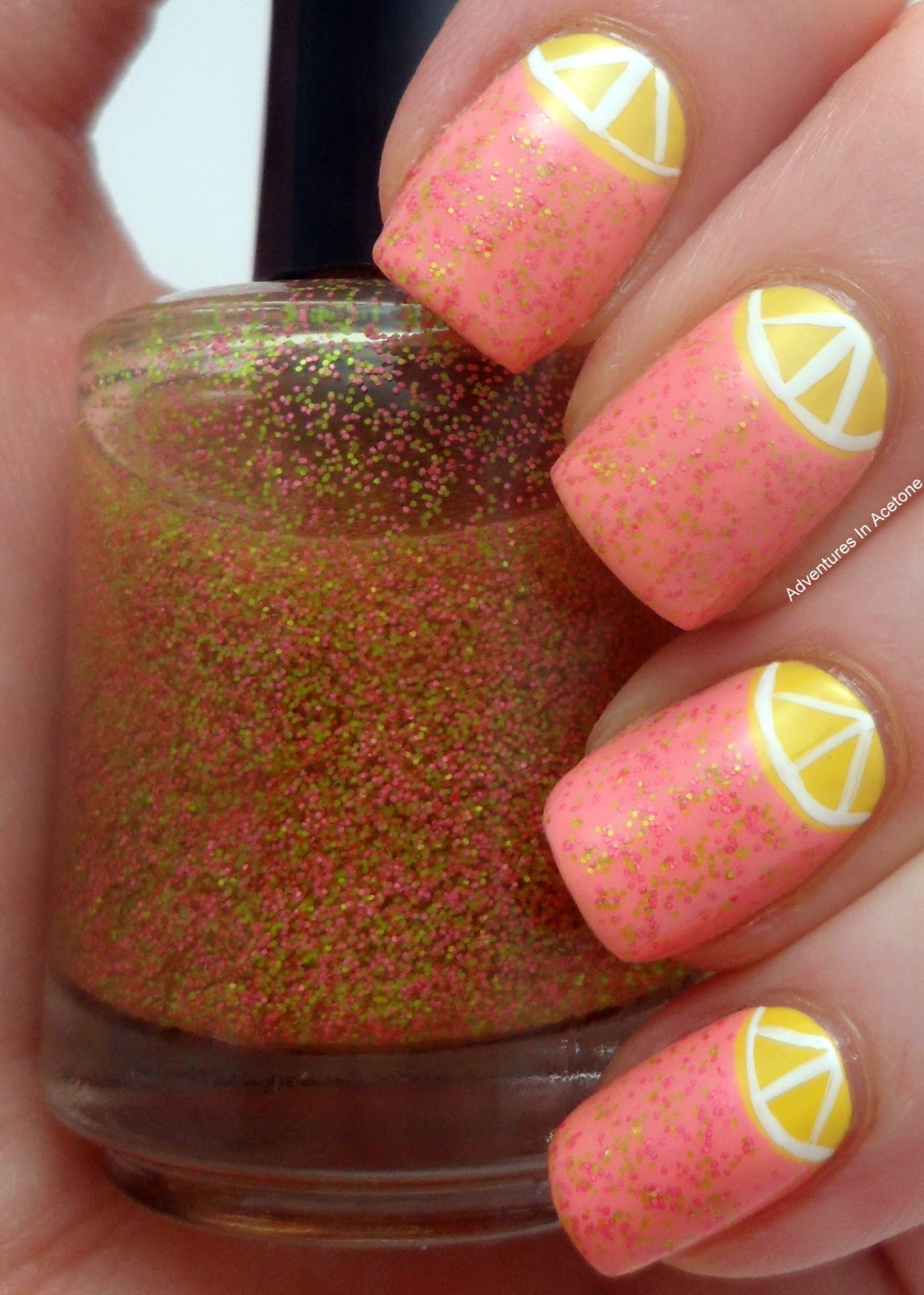 I Did A Coat Of This Amy S Nail Boutique Pink Lemonade Glitter Over U Pinky Swear For Some Added Fun Quick White Lines To Make My Half Moons
