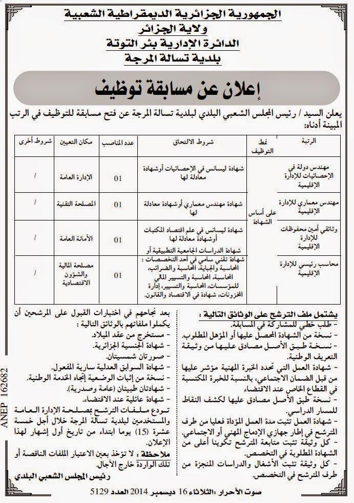 مسابقة توظيف ببلدية تسالة المرجة ولاية الجزائر