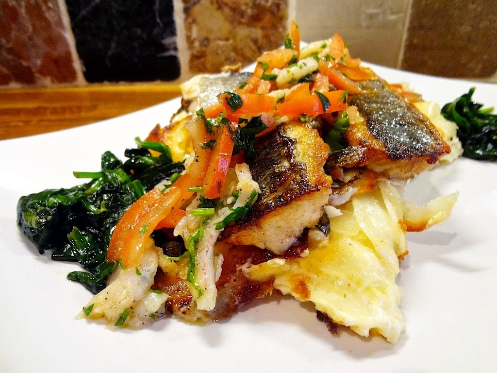 Sea Bass Dauphinoise with Prawn & Tomato Salsa