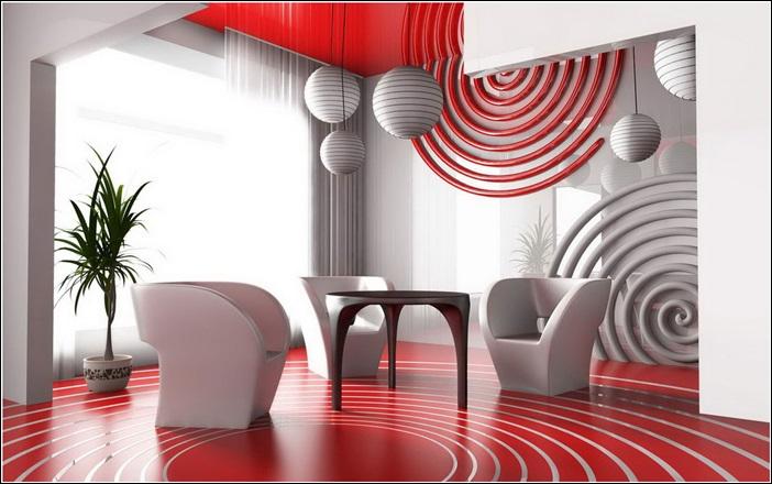 Inspiration De Dcor En Rouge Vif Gris Et Le Blanc   Dcor De