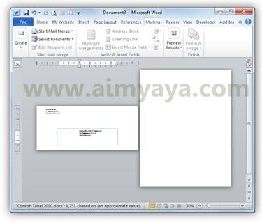 Gambar: Contoh amplop yang ditambahkan ke dalam dokumen microsoft word 2010