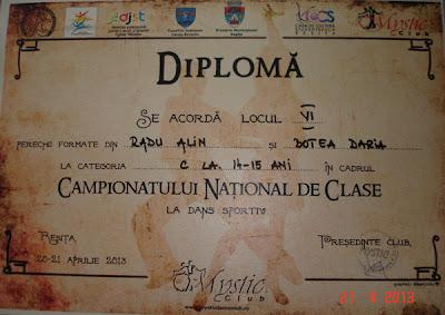 Diploma locul VI Campionatul National de Clase