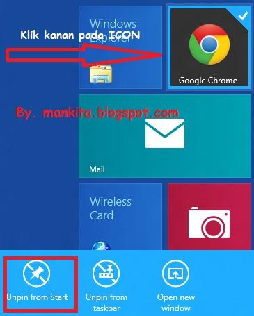 Hapus Shortcuts ICON METRO UI Windows 8
