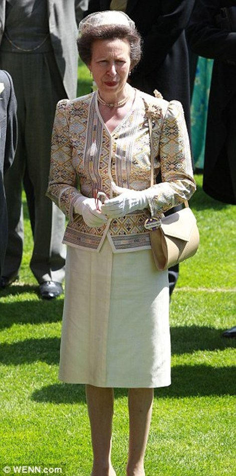 Princess Anne in an embroidered jacket and beige skirt ensemble on day 2 at Royal Ascot, 2014