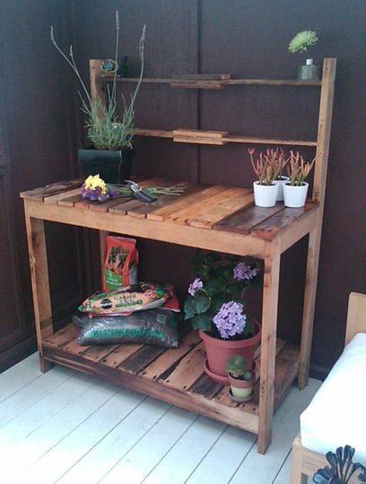 Mueblesdepalets.net: Muebles de palets: Mueble de trabajo exterior para jardi...