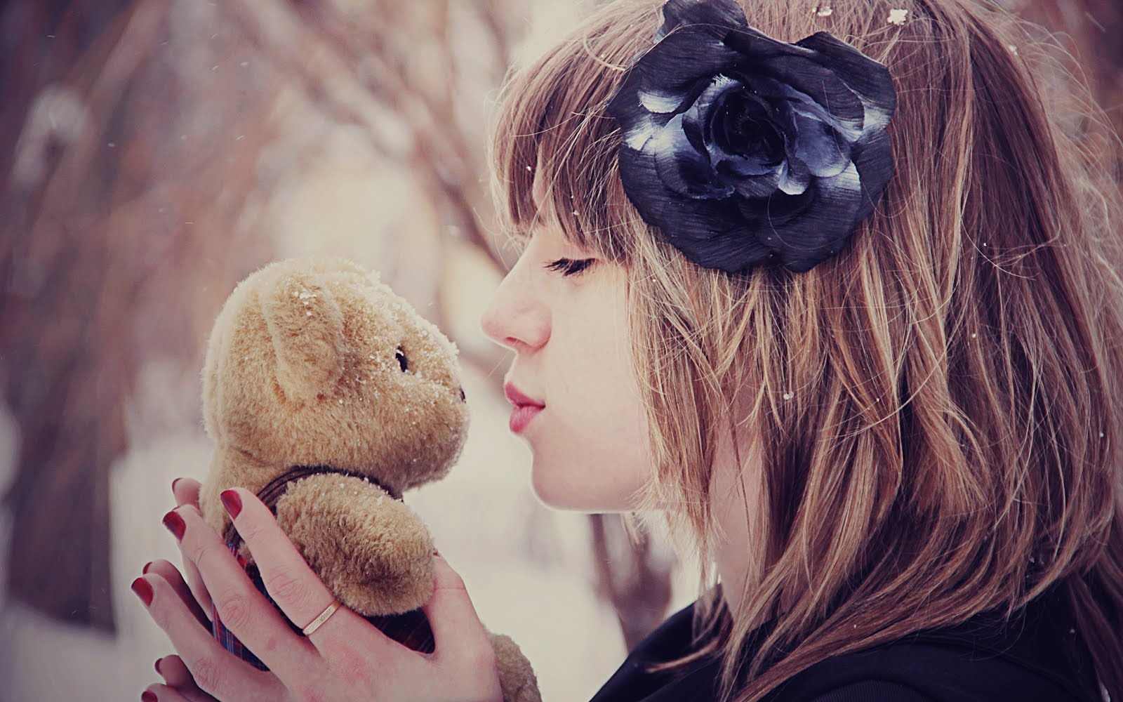 Mood Girl Kiss Bear Toy Flower Snow Winter HD Love Wallpaper Love Wallpapers Romantic ...