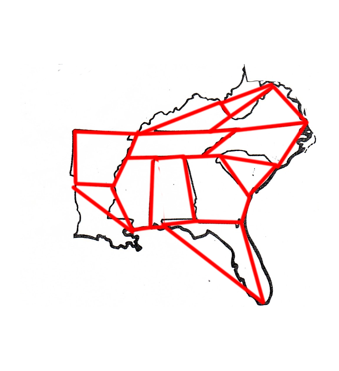 the distinct regions in this case states can be labeled or numbered and removed from the original map