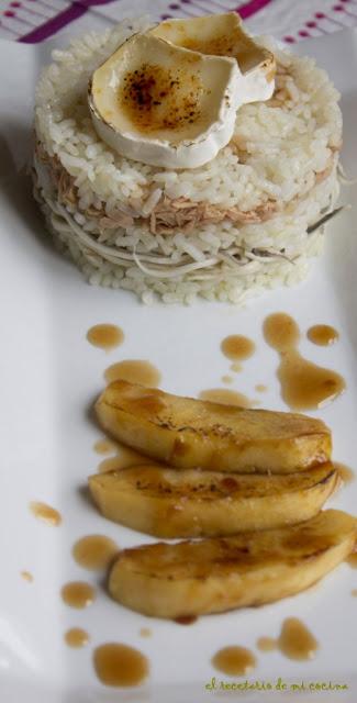 timbal de arroz, atun y gulas