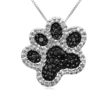 dog paw diamond pendant necklace