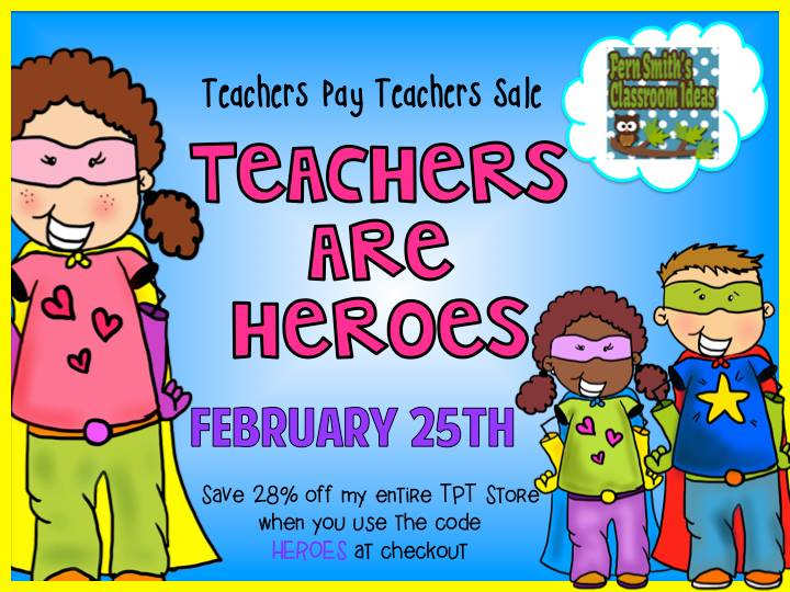 Fern Smith's Classroom Ideas TPT Sale 2015 TeachersPayTeachers code HEROES