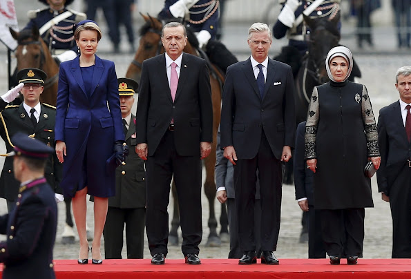 President Recep Tayyip Erdogan and his wife Emine Erdogan are welcomed by King Philippe and Queen Mathilde of Belgium
