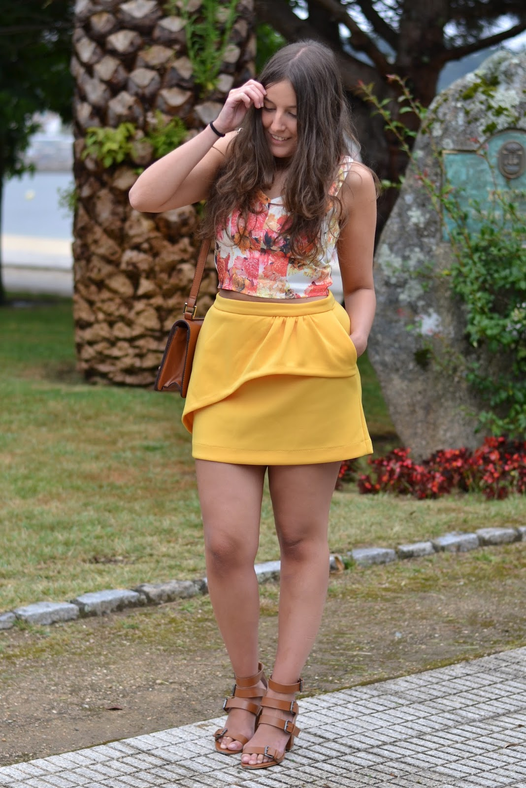 Floral crop top, mustard skirt