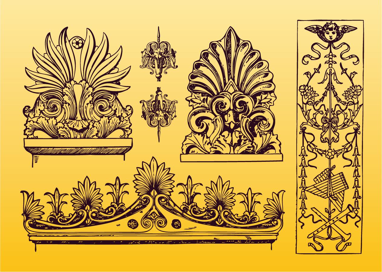 アンティークな修飾素材 Antique Ornament Vectors イラスト素材
