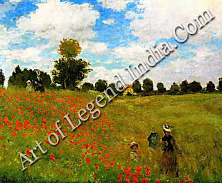 "The Great Artist Claude Monet Painting ""Wild Poppies"" 1873 19 5/8"" x 25 5/8"" Musee d'Orsay, Paris"