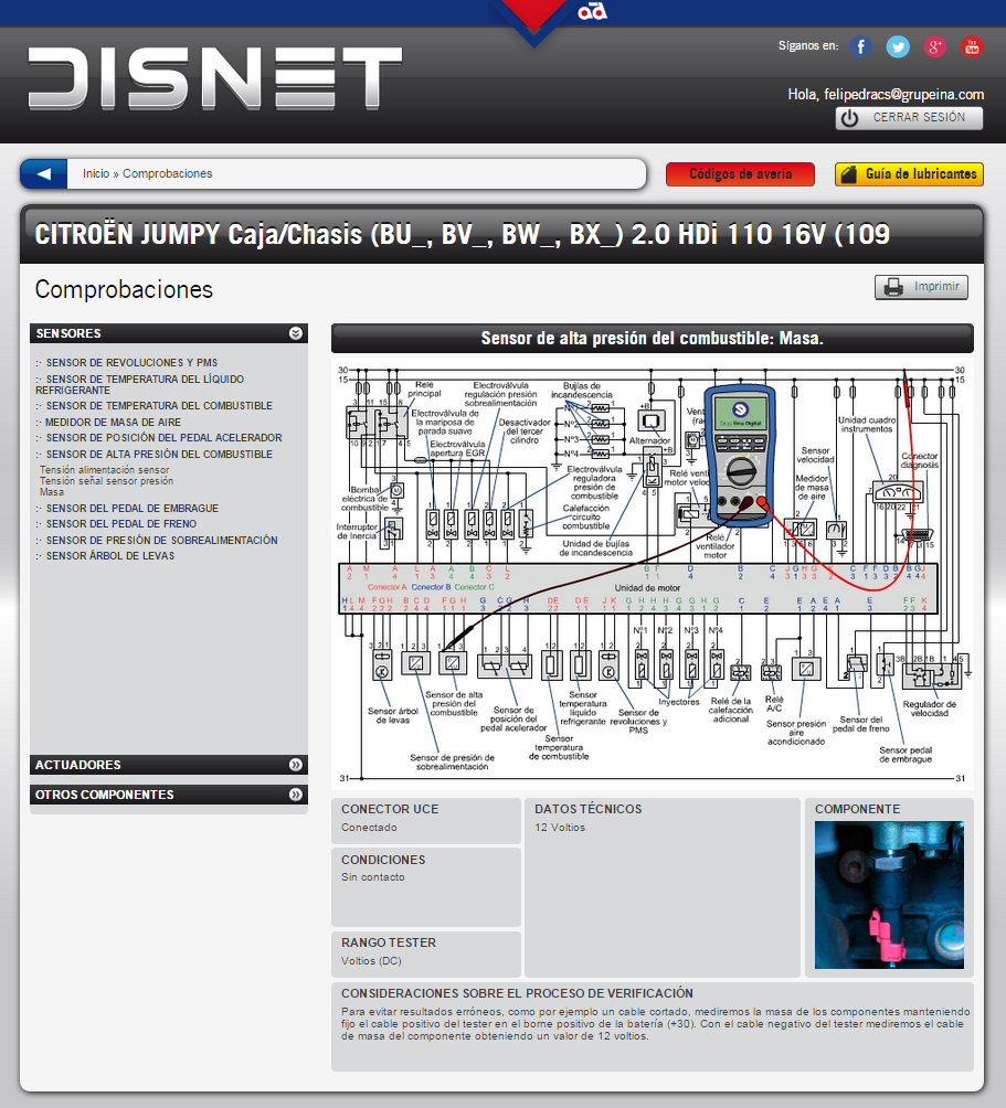 Comprobación de la masa del sensor (información extraída de www.dis-net.com)