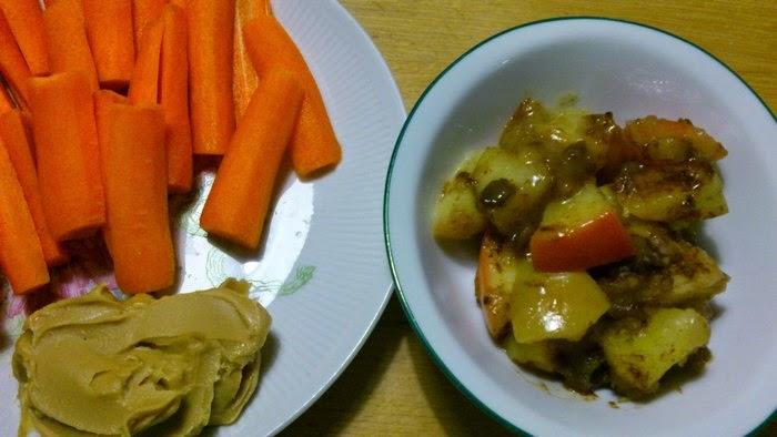 carrot sticks with peanut butter