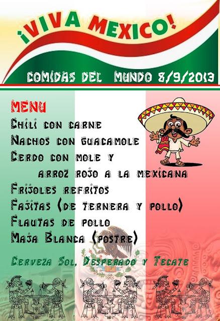 Menú Comidas del Mundo: México