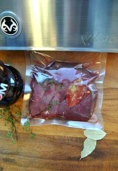 not only will vacuum sealing this steak prepare it for sousvide it draws the marinade into the fibers of the meat - Weston Vacuum Sealer