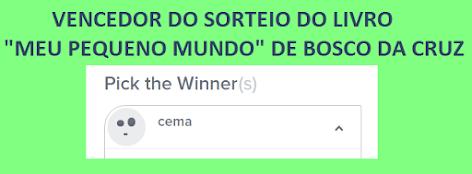 """VENCEDOR DO SORTEIO - LIVRO """"SOMBRAS"""""""
