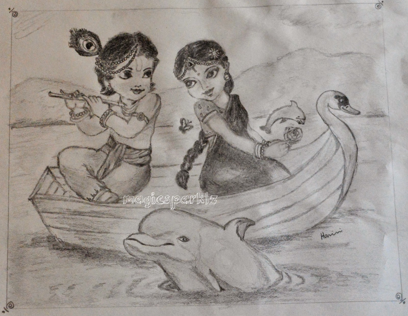 pencil sketch Radhakrishna