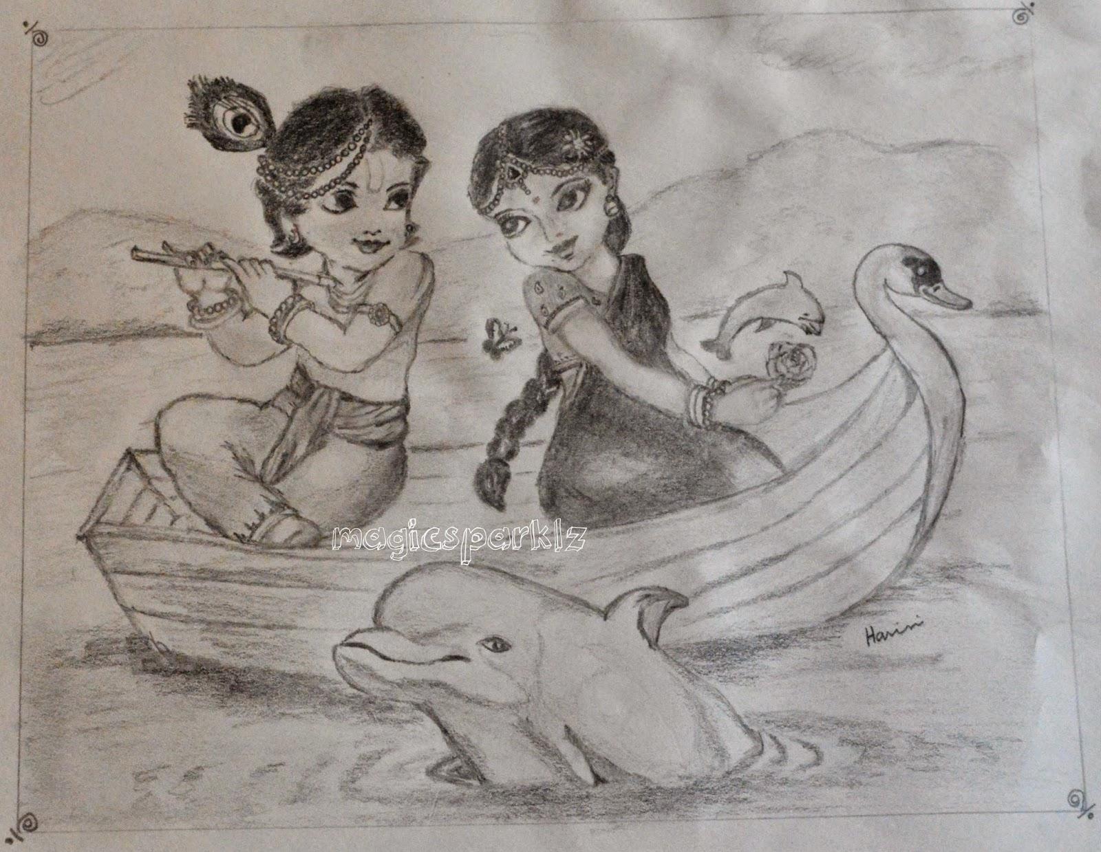 pencil sketch Radhakrishna
