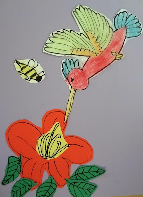 pollination art lesson, hummingbird art lesson for kids, 2nd grade spring art lesson