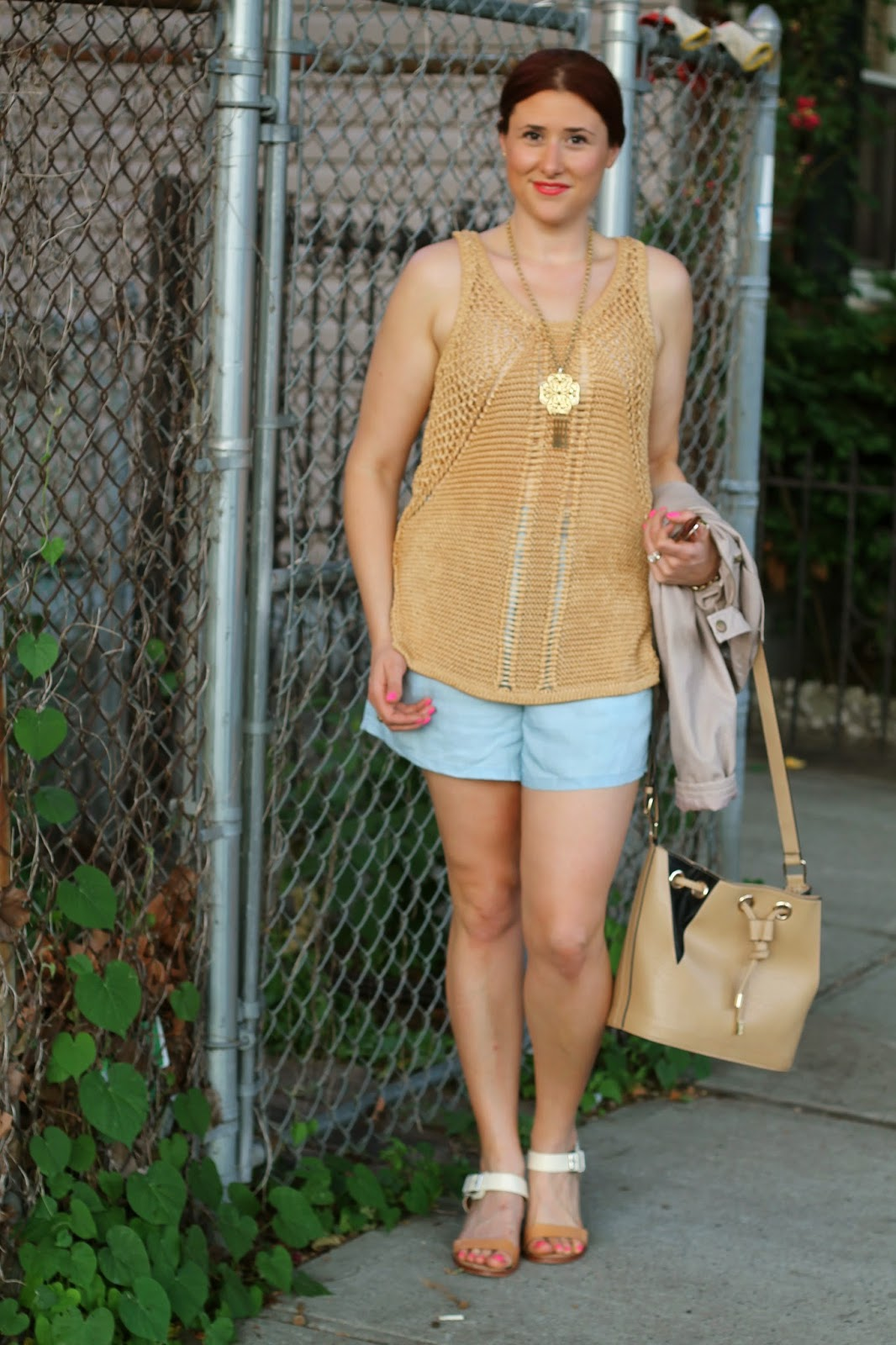 H&M, knit, tank, Gold
