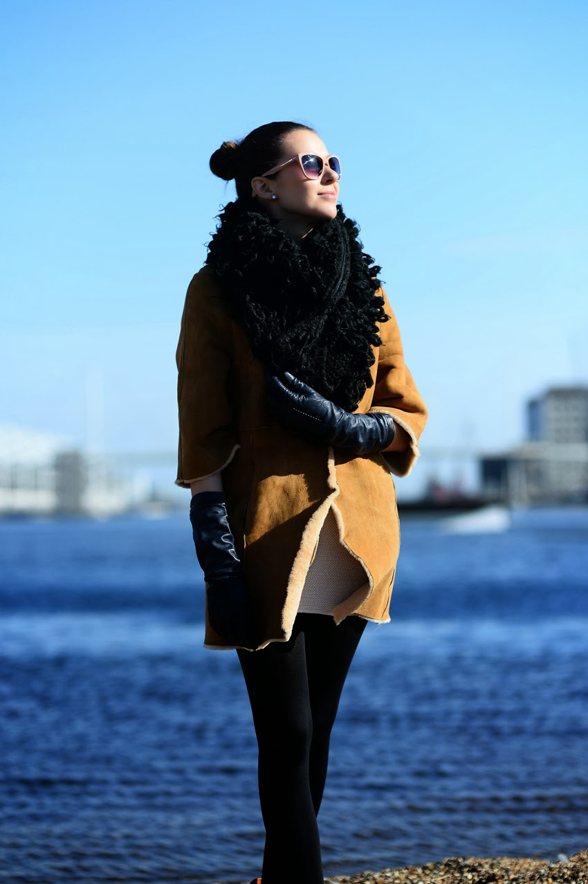oversized scarf, suede coat, long gloves
