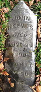 John Reeves' gravestone in Burkhart Cemetery, Morgan  County, Indiana
