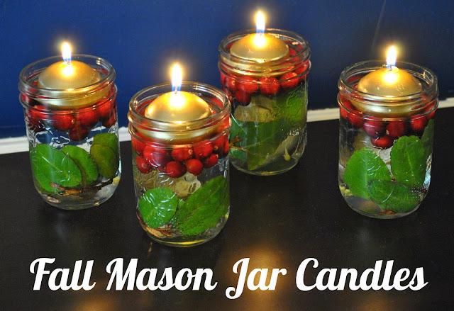 Life with 4 boys diy home decor fall mason jar candle for Diy candle jar decorations