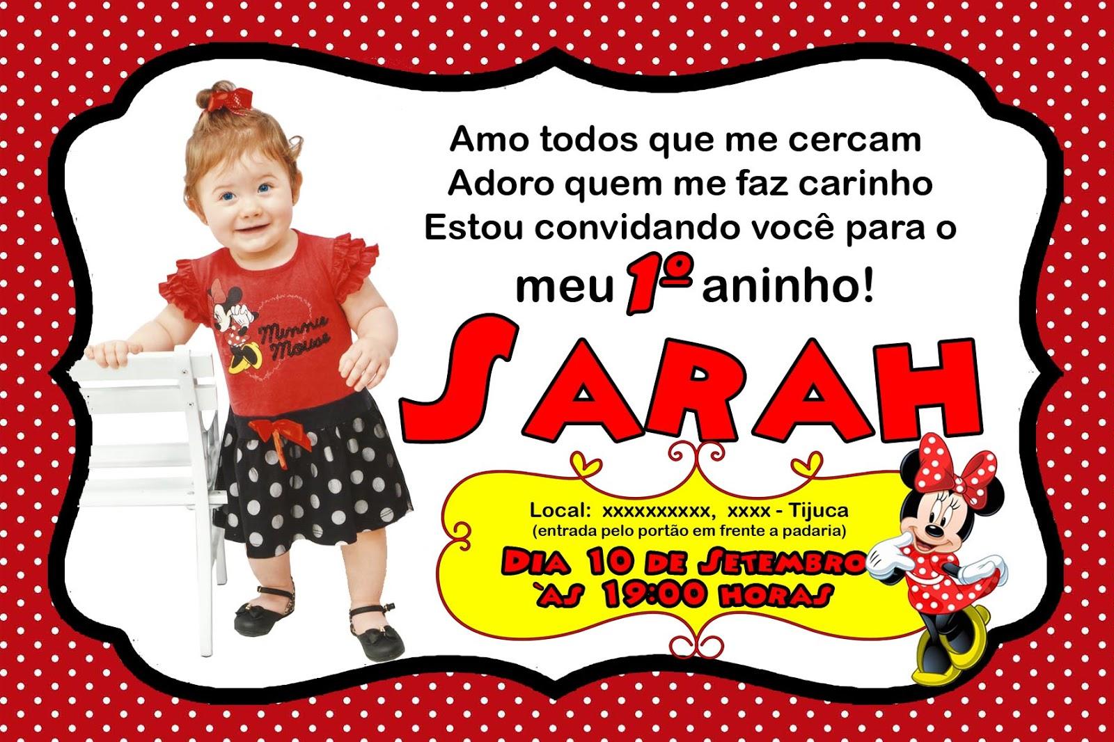 Namastê Convite De Aniversário 1º Aninho Da Minnie