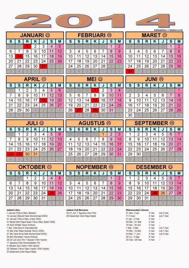 ini adalah Detail Lengkap dari Kalender Tahun 2014 Dan Hari Libur