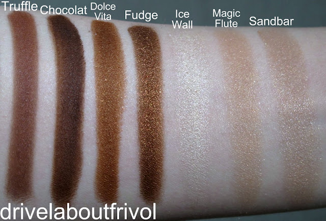 swatch Addiction eyeshadow 013M Truffle, 014M Chocolat, 016P Dolce Vita, 017ME Fudge,  008ME Ice Wall, 010P Magic Flute, 011P Sandbar