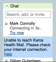 Message: Unable to reach Karos Health. Please check your Internet connection.