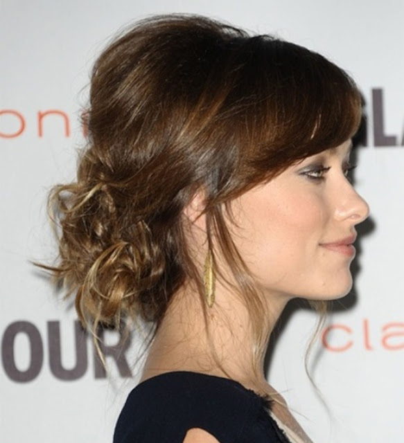 Messy Low Side Bun with Soft Side-Swept Bang