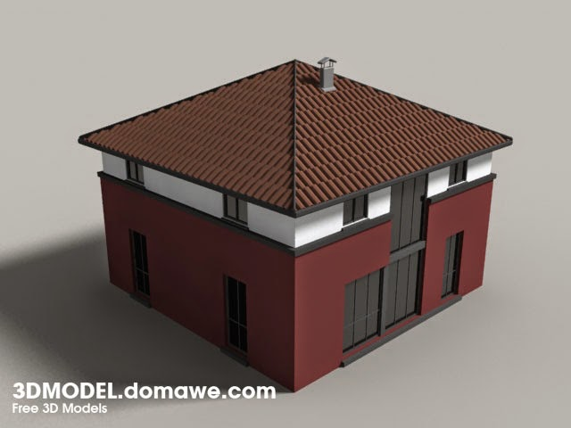 Simple house free 3d model 1 for Minimalist house 3d max