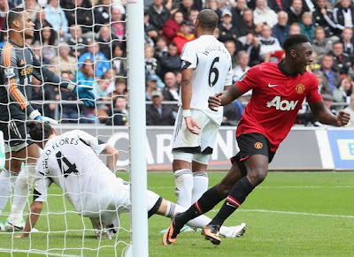 Danny Welbeck Manchester United v Swansea 2013