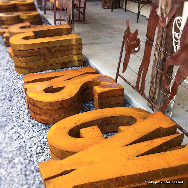 rusty letters wall art
