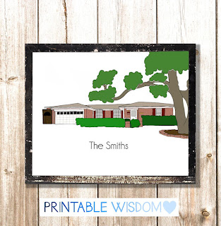PrintableWisdom custom home portrait printable - only $30.00 on Etsy