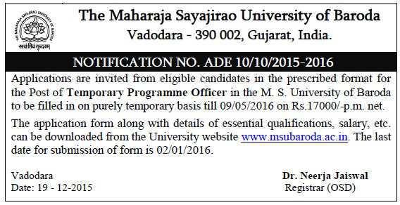 InfoGuru24.com : The Maharaja Sayajirao University of Baroda Recruitment 2015