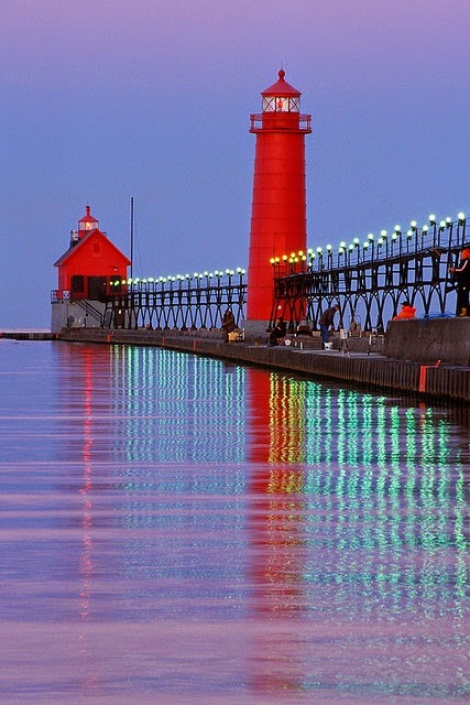 Lighthouse and pier at Grand Haven